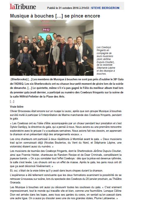La Tribune - Musique à bouches - 2016-10-31